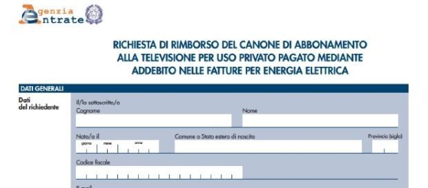 Canone tv, il modello dell'Agenzia delle entrate per il rimborso.