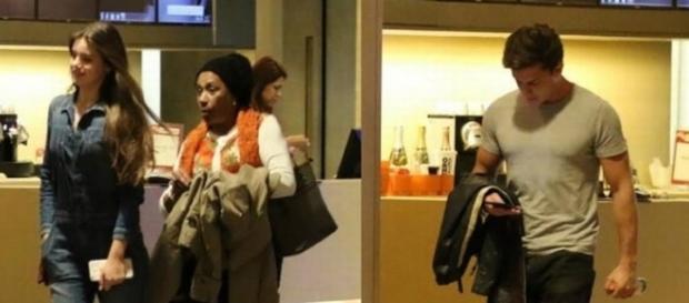 Camila e Klebber saem de cinema com segundos de intervalo (Cristiana Silva/Extra)