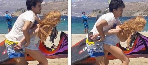 La actriz Lindsay Lohan en el momento del forcejeo con su novio ruso en Mykonos