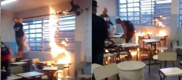 Alunos colocam fogo na sala de aula