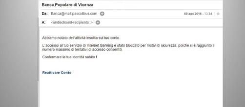 Phishing: e-mail truffa che ruba dati personali e codici agli utenti