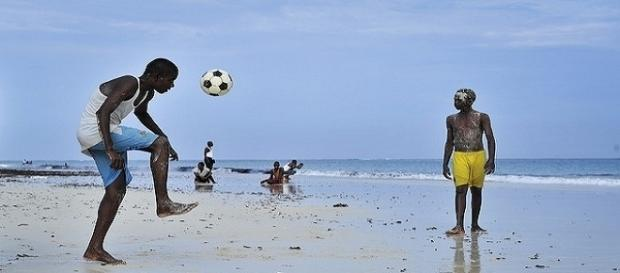 Children playing football in Somalia. Photo (public domain) by AMISOM Public Information