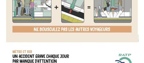 """Campagne de sécurité RATP : affiche """"Ne bousculez pas les autres voyageurs"""""""