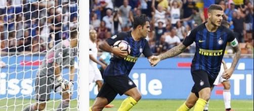 Icardi in rete durante Inter-Palermo.