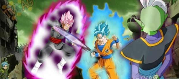 Black Gokú vs Son Gokú super saiyain azul