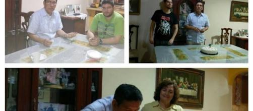 Celebrando el cumpleaños de mi querido esposo en familia.