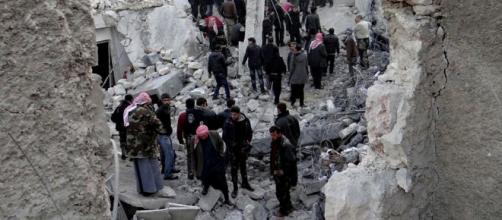 Un quartiere di Damasco devastato dalla guerra