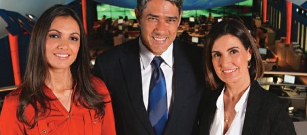 Patrícia, Bonner e Fátima no 'Jornal Nacional'