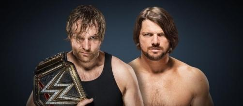 AJ Styles (right) beat Dean Ambrose (left) on Sunday night for the WWE World title. Photo via...dailyddt.com.