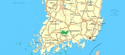 Carte de la partie inférieure de la Corée du Sud