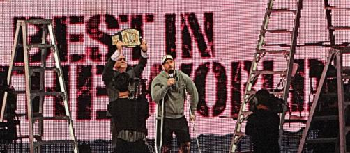 CM Punk (with crutches) cuts a promo on a December 2012 episode of Monday Night RAW. Photo c/o Wikimedia Commons.