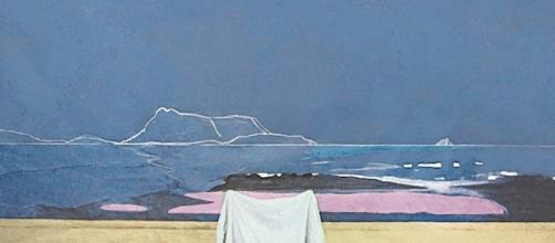 L'inerenza e l'altrove (Tavolara velata dal vento). Collage intelato, matita bianca e tempera. Luca Vernizzi