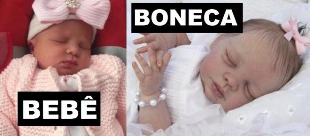 Bebê espancado e boneca realista