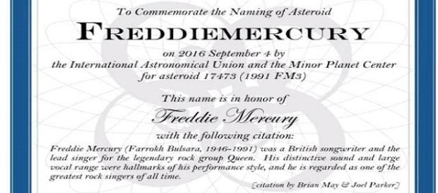 Certificato ufficiale dell'asteroide 17473FM3 assegnato a F.Mercury- (Unione Astronomica Internazionale e del Centro degli Oggetti Minori)