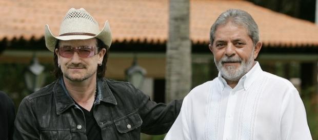 Ex-presidente Lula e o vocalista do U2, Bono