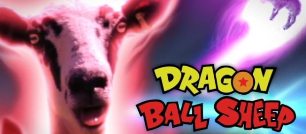 Picture of the funniest parody of Goku's Kaio-ken 'Dragon Ball Sheep' from YouTube user Hoolopee