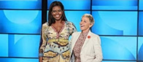 """Youtube still from The Ellen Show:""""First Lady Michelle Obama Co-Hosts with Ellen!"""""""