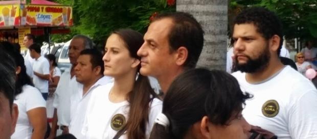 Giulio Anselmo insieme ai militanti del CIMA a Cancun