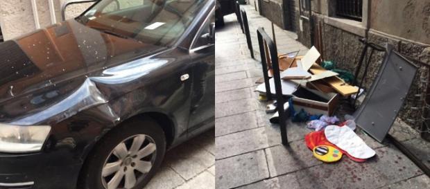 Un'auto danneggiata e gli oggetti lanciati dalla finestra.