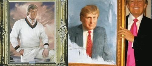 Deux des portraits officiels de Donald Trump. Mais « le » tableau de lui acheté par sa fondation n'est plus localisé...