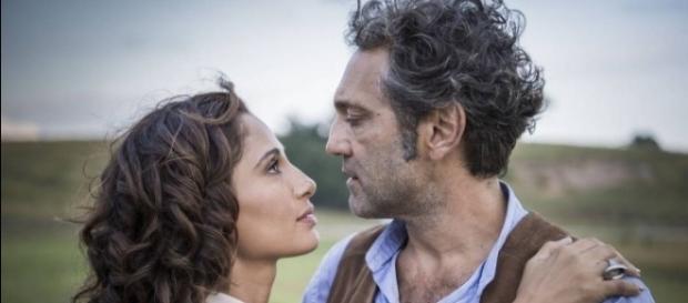 Camila e Domingos gravavam final de Velho Chico (Foto: Caiua Franco / TV Globo)