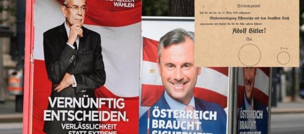 Les élections présidentielles autrichiennes reportées au 4 décembre. En 1938 (insert), c'était plus simple – montage Jef T.
