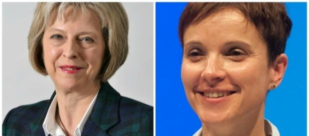 Theresa May, primo ministro del Regno Unito, e Frauke Petry, leader del partito populista di estrema destra tedesco.