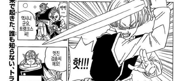 Trunks del futuro entrenando con Shin y Kibito