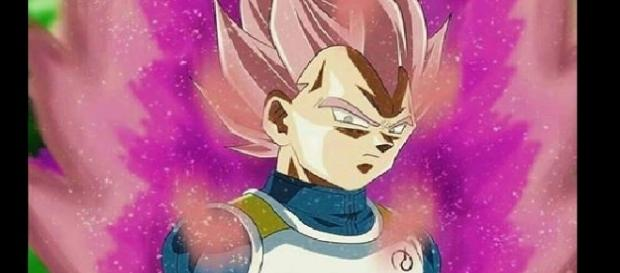 Vegeta transformado en super saiyajin Rose en un fan art