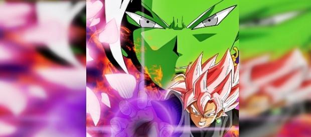 Goku Black Super Saiyajin Rose y Zamasu. Dibujo realizado por el artista Jared Cardenas.