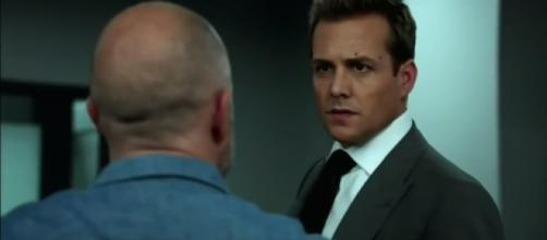 """Things heat up between Harvey and Gallo/ Photo via YouTube - Suits Season 6 Episode 9 """"The Hand That Feeds You"""" Promo (HD) - Television promos"""