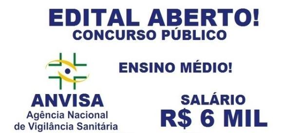 Agência Nacional de Vigilância Sanitária abre concurso.
