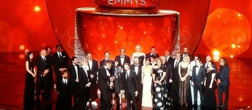 "Cast and Crew of ""Game of Thrones"" at 68th Primetime Emmy Awards. Screenshot credit to Colleen Bement"