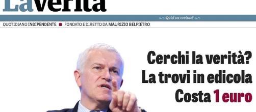 Screenshot della home de 'La Verità', il nuovo quotidiano diretto da Maurizio Belpietro