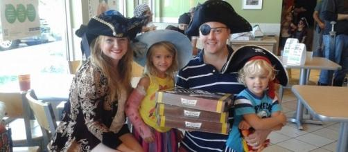 The Doyle family at Krispy Kreme for Talk Like a Pirate Day. Photo by Heather Doyle