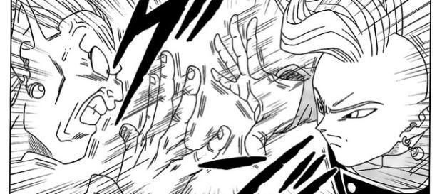 Imagen del manga numero 16 Zamasu peleando con Kibito
