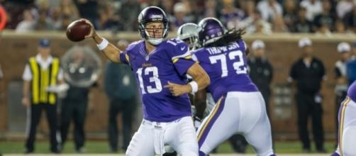 The Vikings are going for Shaun Hill (#13) in the meantime as immediate replacement for Teddy Bridgewater. Photo c/o thevikingage.com.