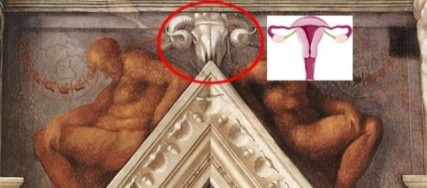De acordo com pesquisadores, os crânios de carneiro representam o aparelho reprodutor feminino
