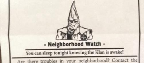 Esempio di volantino distribuito dal KKK