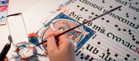 Alcune immagini di Calligrafi e Miniatori mentre lavorano