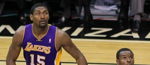 Metta World Peace (#15) in 2010, when he was still known as Ron Artest. Photo c/o Keith Allison/Wikimedia Commons.