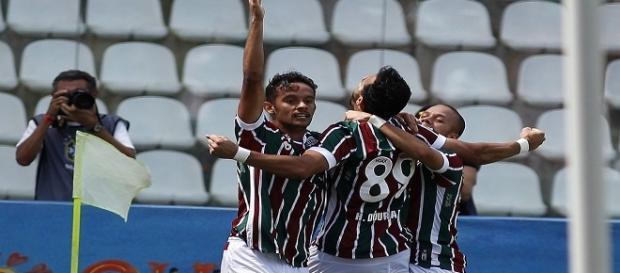 Jogadores do Fluminense comemorando gol: algo frequente na Copa do Brasil em 2016 (Foto: Arquivo)