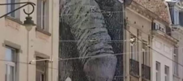 Un pénis géant sur un mur de Saint-Gilles à Bruxelles