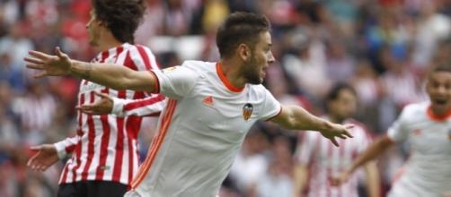 Medrán celebra su gol frente al Bilbao