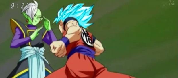 Goku en super sayayin blue vs Zamasu