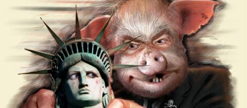 Flickr painting of Corporate Threat to Liberty by Donkey Hotey