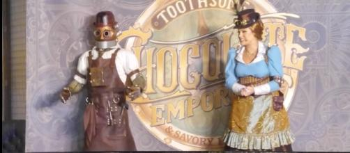 Penelope and Jacques celebrate the grand opening of Toothsome Chocolate Emporium. (Photo by Barb Nefer)
