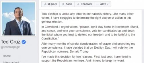 La dichiarazione di Ted Cruz, attraverso Facebook