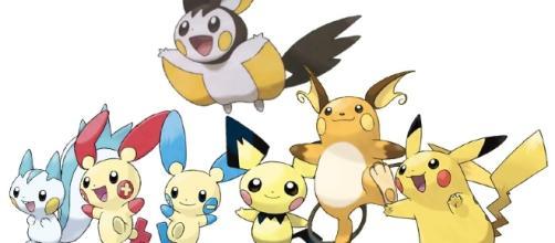 Todos los miembros de la familia de Pikachu.