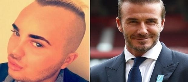 Jovem gasta uma fortuna para realizar seu sonho: ficar parecido com David Beckham.